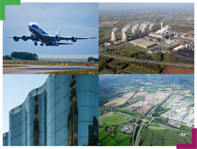 Collage showing the sites within East Midlands Freeport